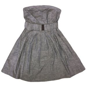 Gray Strapless Chambray Belted Dress L